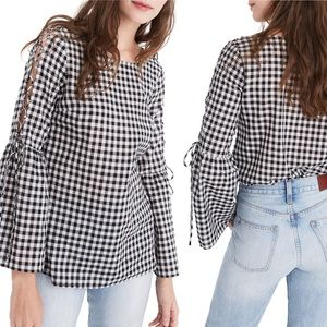 MADEWELL Lace Up Bell Sleeve Gingham Top
